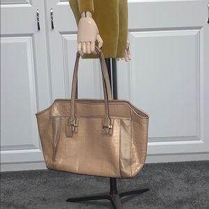 Coach crocodile embossed handbag